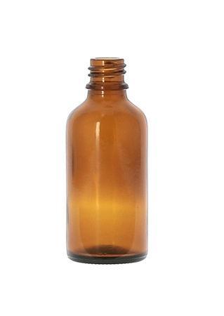 50ml amberkleurige glazen flesje 18DIN om zelf samenstellingen te maken met etherische olie